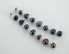 Black Pearl Dangle Earrings Iridescent by DebsTurquoiseZebra