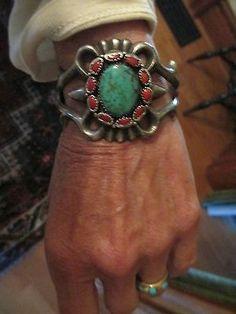 Vintage Navajo sterling turquoise coral bracelet