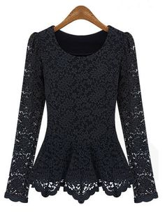 Women Lace Hollow Blouse Slim Long Sleeve Elegant Shirt- found this on a website called Bang good. It's like some others where they offer a piece for a limited amount to time. Snooze, you lose. But at $10.98, it is a great find and they have many options for larger X+ sizes