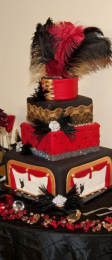 A Moulin Rouge Themed wedding produces a beautiful Moulin Rouge wedding cake.  The glitz and glam of it are so fun.