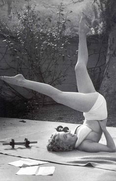 Marilyn Monroe doing pilates