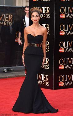 Nicole Scherzinger in Galia Lahav black gown at the 2015 Olivier Awards in London. #nicolescherzinger