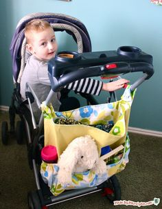 Sew a DIY Stroller Bag! The Walk In The Park Stroller Bag is a free sewing tutorial for a tote that attaches to stroller (or wheelchair) handles.