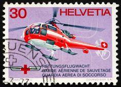 Helicóptero de rescate de la Cruz Roja de sello postal suiza 1972