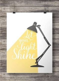 Let your light shine - Hand lettered typography Printable wall art print…