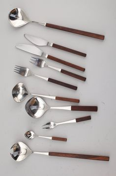 Tias Eckhoff; Steel and Palisander Cutlery, 1960s.