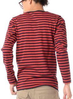 E XL (ジャックポート)JACK PORT ボーダー 長袖 ボーダー Tシャツ カットソー ストレッチ Uネック Vネック JPP18765007951