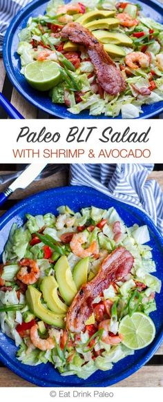https://paleo-diet-menu.blogspot.com/ #paleodiet 20-Minute Paleo BLT Salad with Prawns and Avocado | eatdrinkpaleo.com...