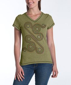 Take a look at this Olive Swirl Fitted V-Neck Top by lur® on #zulily today!