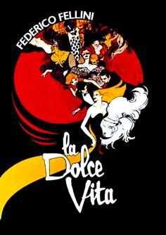 "MP1268. ""La Dolce Vita"" Movie Poster by Rene Gruau (Federico Fellini 1960) / #Movieposter"