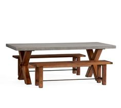 Abbott X-Base Rectangle Table & Abbott Bench Dining Set, Brown   Pottery Barn