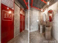 How to Budget a Bathroom Renovation Right The First Time Gym Interior, Black Interior Design, Bathroom Interior, Black Bathroom Sets, Bathroom Red, Concrete Bathroom, Washroom Design, Toilet Design, Hotel Room Design