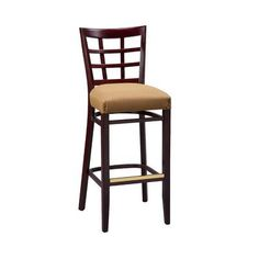 "Regal Bar Stool Seat Height: 26"", Finish: Cherry, Footrest and Nail Trim: Chrome"