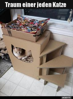 Every cat's dream . A pet, or companion animal, is a dog kept primarily for Cardboard Cat House, Cat Castle, Cat House Diy, Diy Cat Tree, Cat Playground, Cat Enclosure, Cat Room, Pet Furniture, Cat Crafts