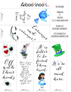 Friday Freebies: Alice in Wonderland Printable Bookmarks – lebooknooks