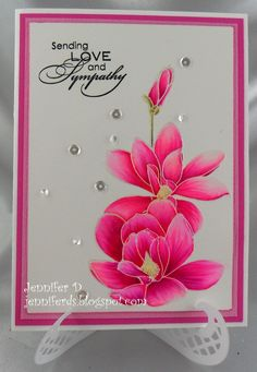 handmade card from JenniferD's Blog: Altenew - Magnolias For Her ... gorgeous hot pink coloring with matching mats ...