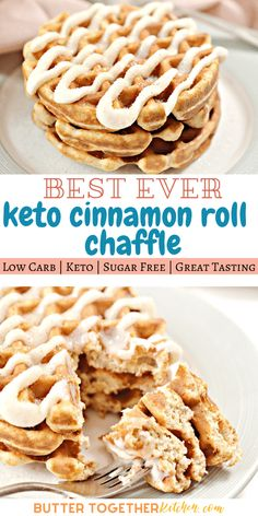 Enjoy the best easy and delicious keto cinnamon roll chaffle you can make! This recipe is one of the easiest ways to enjoy cinnamon rolls you have loved so much! With a cinnamon sugar coating and the sweet icing this chaffle recipe will become a favorite. Low Carb Desserts, Low Carb Recipes, Easy Keto Recipes, Waffle Maker Recipes, Comida Keto, Keto Brownies, Low Carb Breakfast, Perfect Breakfast, Cinnamon Rolls