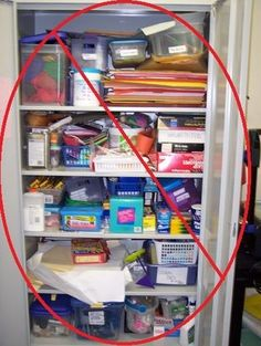 Being organized with your classroom stuff reduces teacher and student anxiety.  Classroom organization do this - NOT that list. There are great photos here to help you organize - you might even laugh at some of the examples of how not to organize!