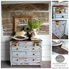 Antique dresser refinished in Sweet Pickins Milk Paint in Galvanized.  Missing top drawers replaced with crates with the cutest burlap bow!!