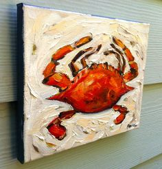 Bright Red Crab Original Oil Painting on Canvas. Etsy.