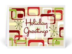 Retro Modern Atomic Holiday Christmas Card - Click Image to Close