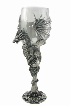 Graeme Anthony Pewter Emperor Dragon Wine Glass
