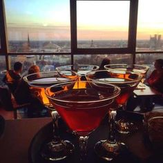 Cocktails at Skyline Bar in Riga, Latvia.