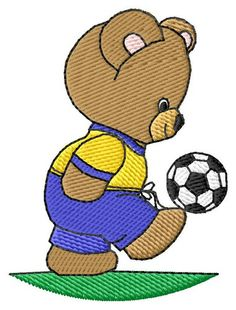 "In the spirit of the World Cup, get 33% off soccer machine embroidery from embroiderydesigns.com! Including, but not limited to this cute ""Soccer Bear"" embroidery design!! Offer ends 7/13/2014"