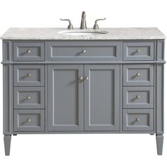 This classic. contemporary marble top vanity console from our Park Avenue collection is roomy enough to keep all your bath essentials close at hand. Fitted with a spacious Italian Carrara white marble counter top and an oval porcelain sink. Painted Gray Cabinets, Grey Cabinets, Office Bathroom, Single Bathroom Vanity, Vanity Cabinet, Vanity Sink, Porcelain Sink, White Porcelain, Marble Vanity Tops