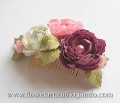 Bridal Hair Comb, Pink and Ivory silk flowers, Bridal Headpiece, Bridal Hair Flower, Bridal Hair Accessories, Wedding Fascinator.