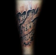 Ripped Skin Music Note Tattoo For Guys