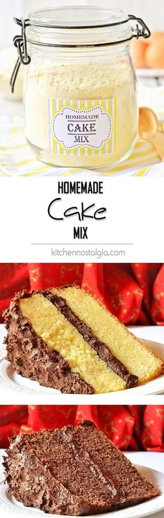 Homemade Cake Mix Homemade Cake Mix – you will be surprised to see how easy it is to make a substitute for a boxed cake mix from scratch! You will also learn how to make Yellow, White, Chocolate, Spice, Orange and Lemon Cake using the mix. Cake Mix Recipes, Cupcake Recipes, Cupcake Cakes, Dessert Recipes, Cupcakes, Homemade Cake Mixes, Box Cake Mix, Let Them Eat Cake, No Bake Cake