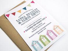 Beach Hut Wedding Invitation by STNstationery on Etsy, £2.50