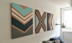 DIY Rustic chevron wood wall art sign עיצוב קיר בעבודת יד