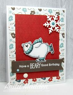I have a fun birthday card to share todayusing some products from My Favorite Things.   Thiscute polar bear is from My Favorite Things'BB Polar Bear Palsstamp set.I colored the bearwith copics