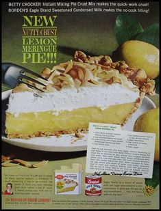 Ingredients Needed per recipe 1 stick Betty Crocker Instant Mixing Pie Crust Mix 1 cup slivered toasted almonds 1 1/2 cups (15-oz. can) Eagle Brand Sweetened Condensed Milk 1/2 cup lemon juice 1 ts...
