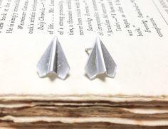 Origami paper plane Earrings in silver
