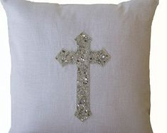 Amore Beaute Handcrafted Silver Cross Pillow Cover - White Linen Cross Pillowcases - Sequin Pillow Covers - Christian Cross Pillow Cover - Silver White Pillow Cases - Gift - Accent or Statement of Faith X Glam Pillows, Teal Throw Pillows, Silver Pillows, Monogram Pillows, White Pillows, Linen Pillows, Couch Pillows, Cushions, Sequin Cushion