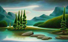 """Spirit Island"" Oil Canvas by Dana Irving Landscape Art, Landscape Paintings, Seascape Art, Naive Art, Canadian Artists, Painting Inspiration, New Art, Vintage Art, Painting & Drawing"