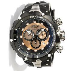 634e95f66df Image for Men s Venom Reserve Chrono Black Polyurethane Rose-Tone Dial from  World of Watches Invicta Venom Black Dial Chronograph Men s Watch 0360  Relógio