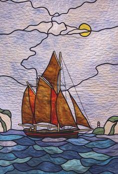 "Close up, ""Brixham Trawler"" by Jane Hopkins, 2007 Malvern Quilt Festival (UK), photo by Barry Sharples"