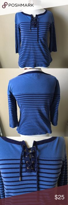 {Ralph Lauren} Nautical Lace-up Top Ralph Lauren 3/4 sleeve top with nautical stripes and a lace up detail. The lace material is easily unwinding but isn't noticeable and can be fixed with a twist. Has slight piling. Size Medium. J. Crew Tops