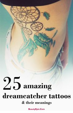 Dreamcatcher Tattoo Designs: The Dream Catcher tattoo art originated from Native America, it was first created by the Chippewa people. The typical dream catcher design has a handmade web or net with loop decorated with feathers, beads and other objects. #tattoos