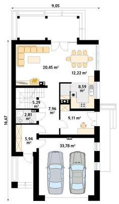 DOM.PL™ - Projekt domu MT Amarylis 3 CE - DOM MS3-65 - gotowy koszt budowy Bungalow Conversion, Modern House Plans, Home Fashion, Kitchen Design, Floor Plans, Flooring, How To Plan, House Styles, Log Cabins
