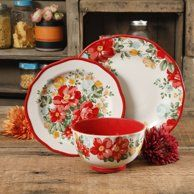 The Pioneer Woman Vintage Floral Red Dinnerware Set Image 1 of 7 Pioneer Woman Dishes, Pioneer Woman Kitchen, Pioneer Women, Pioneer Woman Dinnerware, Desert Rose Dishes, Dinnerware Sets Walmart, Casual Dinnerware, Dinnerware Ideas, Pasta Bowl Set