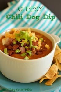 Cheesy Chili Dogs Dip is sure to be a hit at your next party!