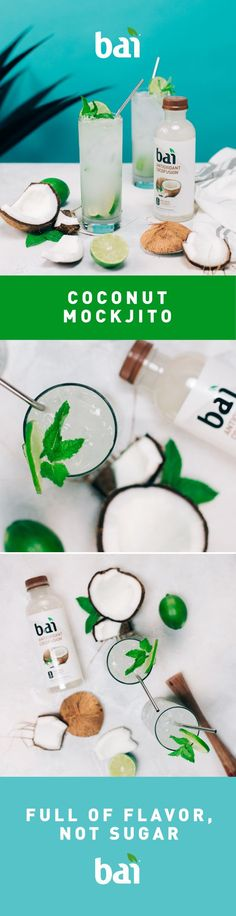 Don't mock it till you try it. Make this Coconut Mockjito mocktail and keep your clean diet. Don't mock it till you try it. Make this Coconut Mockjito mocktail and keep your clean diet. Holiday Drinks, Party Drinks, Cocktail Drinks, Fun Drinks, Healthy Drinks, Beverages, Cocktails, Healthy Recipes, Refreshing Drinks