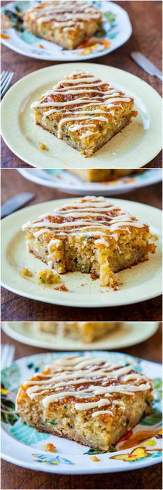 Banana Zucchini Pudding Cake with Vanilla Browned Butter Glaze - The softest, moistest cake ever! So easy and the glaze is heavenly!