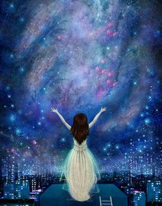 Reach For The Stars 11X14  - empowerment , inner strength, night sky poster, constellation, feminist art, teenage girl art - Lisa Falzon