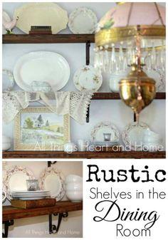 DIY Rustic Shelves in the Dining Room! #rusticdecor #diningroom #diyshelves